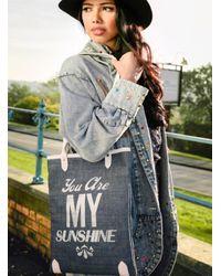 Jam Love London - Multicolor Sunshine Book Bag In Denim With White Type - Lyst