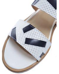 Folk - Blue Boe Sandal In Perforated White & Navy - Last Pair - Lyst