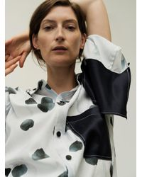 Eudon Choi Lavenson Shirt In Black Petal Polka Dot