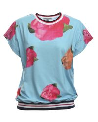 Simeon Farrar - Pink Jersey Top With Roses - Lyst