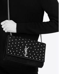 Saint Laurent Black Kate Jewel Studded Suede Bag