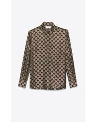 Muslin shirt with faded lamé polka dots di Saint Laurent in Black da Uomo