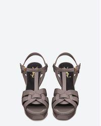 Saint Laurent Gray Tribute 75 Sandal In Fog Patent Leather