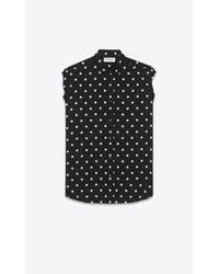 Saint Laurent   Black And White Polka Dot Dylan Collar Sleeveless Shirt   Lyst