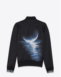 Saint Laurent Moonlight Teddy Jacket In Black Satin for men
