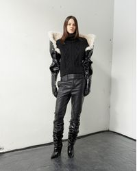 Saint Laurent Pants With Tuxedo Waist In Shiny Black Grained Leather for men