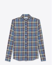 Saint Laurent | Rinse Plaid Narrow Collar Shirt In Blue Cotton for Men | Lyst