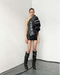 Saint Laurent Asymmetrical Strapless Mini Dress With Ruffles In Shiny Black Leather