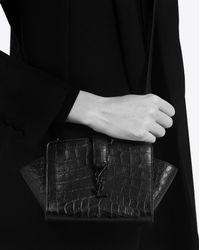 Saint Laurent Toy Ysl Cabas Bag In Black Crocodile Embossed Leather