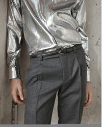 Saint Laurent - Metallic Yves Collar Shirt In Silver Velvet Lamé - Lyst