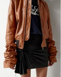 Saint Laurent Brown Jacket With Oversized Gathered Sleeves In Cognac Vintage Leather for men
