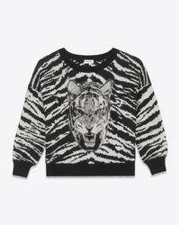 Saint Laurent Crewneck Sweater In Black, Ivory And Heather Grey Tiger Head Woven Mohair, Polyamide And Virgin Wool Jacquard