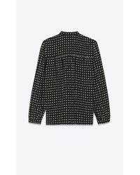 Saint Laurent Tie Blouse With Star Print In Black