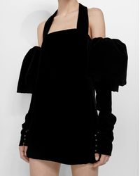 Saint Laurent Strapless Mini Dress With Ruffles In Black Velvet