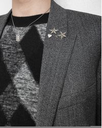 Saint Laurent - Metallic Army 5 Pin Set In Old Silver And Old Gold-toned Brass And Green Crystal - Lyst