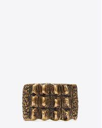 Saint Laurent - Multicolor Animalier Crocodile Cuff In Old Gold-toned Brass - Lyst