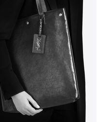 Saint Laurent Brown Noe Flat Shopping Bag In Cognac Shiny Leather