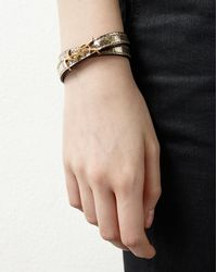 Saint Laurent Metallic Monogram Double Wrap Bracelet In Cracked Leather And Gold-toned Leather