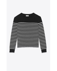 High-neck sweater in a sailor knit di Saint Laurent in Black