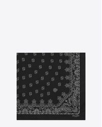 Saint Laurent Bandana Square Scarf In Black And White Paisley Printed Cashmere And Silk Étamine for men