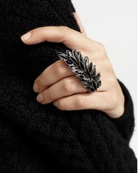 Saint Laurent Two-finger Ring In Metal And Black Crystals