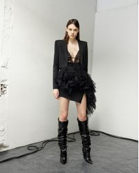 Saint Laurent Asymmetrical Mini Skirt In Black Gabardine With Mesh Ruffles With Hearts