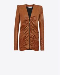 Saint Laurent Brown Mini Dress With Square Shoulders And Ruffles In Vintage Cognac Leather