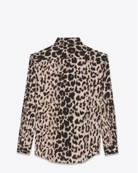 Saint Laurent - Natural Shirt In Beige And Grey Leopard Printed Silk Crêpe - Lyst