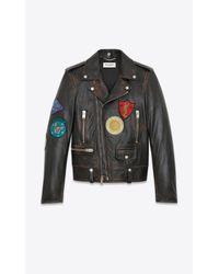 Saint Laurent - Multi-patch Motorcycle Jacket In Vintage Black Leather for Men - Lyst