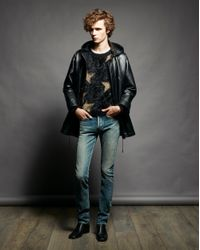 Jean slim raw edge bandana en denim dirty green blue Saint Laurent pour homme