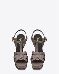 Saint Laurent Gray Tribute Sandals In Patent Leather