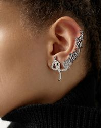 """Saint Laurent Metallic """"rendez-vous"""" Ear Jewel In Silver-toned Brass And Crystals"""