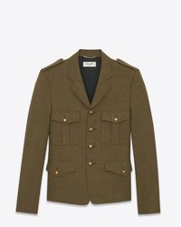 Saint Laurent - Green Veste militaire en twill de laine kaki for Men - Lyst
