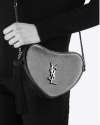 Monogram mini sac cœur en cuir lisse Saint Laurent en coloris White
