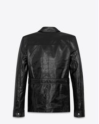 Saint Laurent Safari Jacket With Square-cut Shoulders In Shiny Black Leather for men