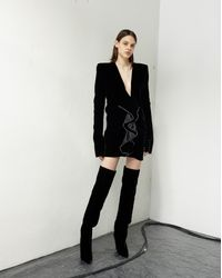Saint Laurent Zipped Mini Dress With Square Shoulders And Ruffles Adorned With White Crystals, In Black Velvet