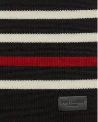 Saint Laurent - Marin Scarf In Black And White Knit Wool - Lyst