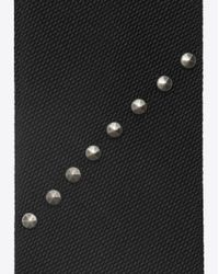 Saint Laurent - Narrow Tie With Silver-toned Studs On Black Silk for Men - Lyst