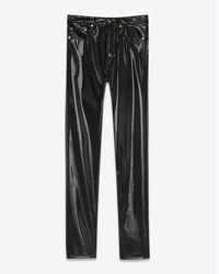 Saint Laurent Mid Waisted Slim Jean In Black Vinyl