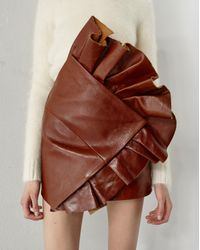 Saint Laurent Brown Asymmetrical Mini Skirt With Ruffles In Shiny Camel-color Vintage Leather