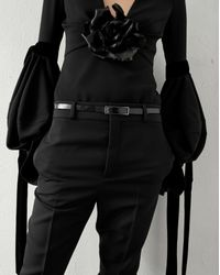 Saint Laurent Top With A Plunging V-neckline With Long Oversized Sleeves In Black Sablé And A Black Leather Flower