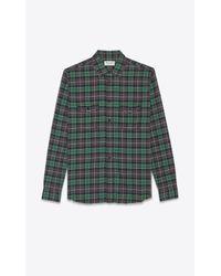 Chemise oversize en flanelle à carreaux Saint Laurent pour homme en coloris Green