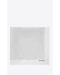 Foulard en soie ivoire à imprimé pois noir Saint Laurent pour homme en coloris White