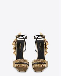 Saint Laurent Metallic Edie 110 Leaf Slingback Sandal In Gold And Black