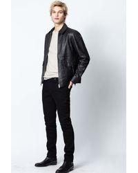 Zadig & Voltaire Black Bobby Crinkle Leather Jacket for men