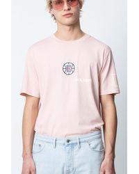 Zadig & Voltaire Pink Tobias La Clippers T-shirt for men