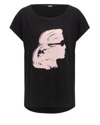 Karl Lagerfeld | Black Painted Karl Head Printed Cotton T-shirt | Lyst