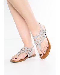 Madden Girl | Gray Earrla T-bar Sandals | Lyst