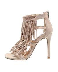 Steve Madden | Natural Fringly High Heeled Sandals | Lyst