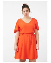 Violeta by Mango Orange V-neckline Dress